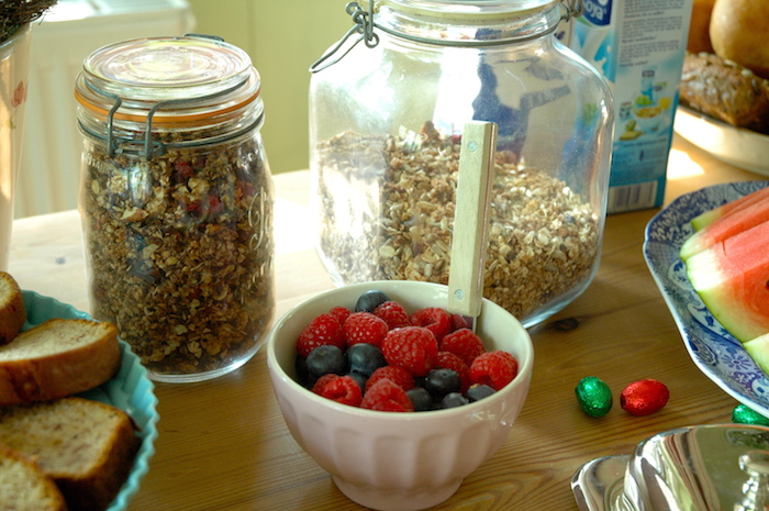 Homemade Müslis and fresh berries