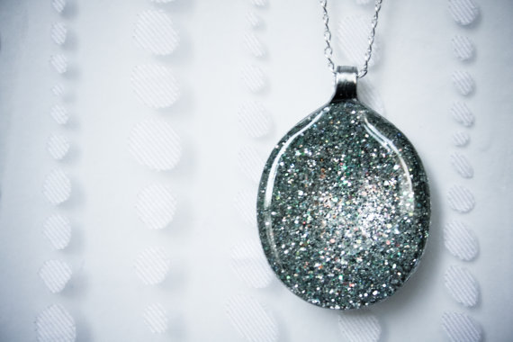 Sparkling necklace made from recycled spoon