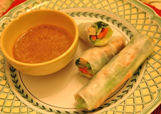 Vietnamese spring rolls with peanut dip