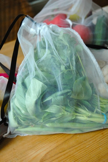 Herbs in reusable bag