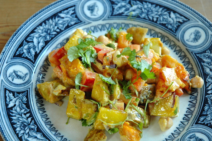 With butternut squash, chickpeas and potato