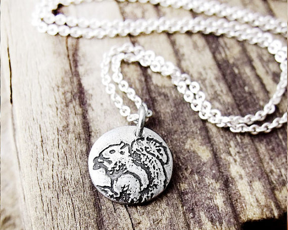 "Tiny squirrel necklace by ""Lulu Bug jewelry"""