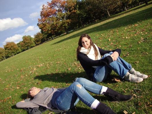 Enjoying autumn sunshine in Hyde Park