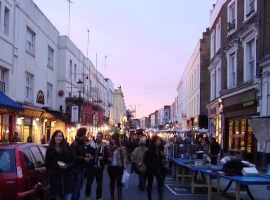Portobello Market in the evening