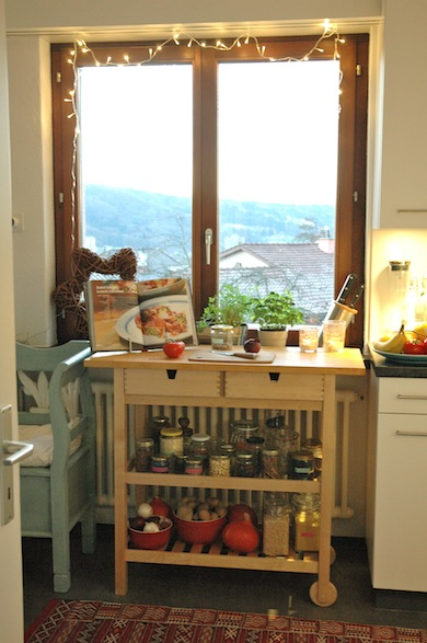 A kitchen trolley is great for additional work and storage space.
