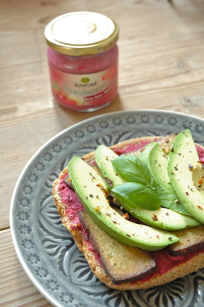 Made with a beet root spread from Alnatura