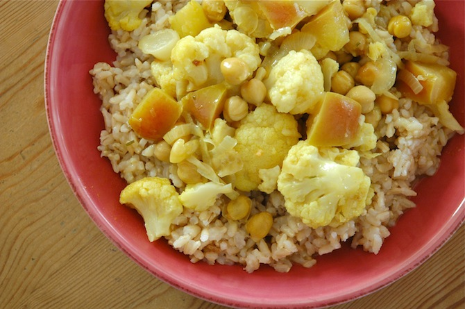 Served with brown rice