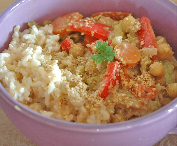 Peanut-Buttery Coconut Veggies With Brown Rice