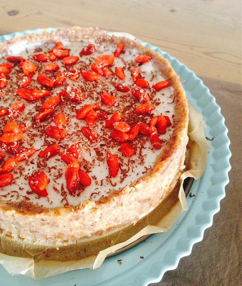 CHOCOLATE PUDDING TART WITH COCONUT CREAM & GOJI BERRIES
