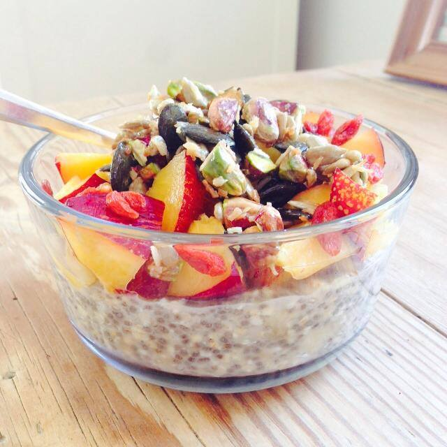 Chia oatmeal with nectarines and caramelized nuts & seeds