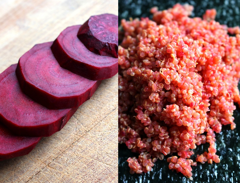 Cook red beet slices with quinoa to add color