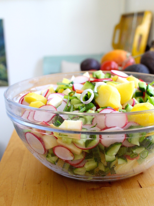 Preparing the potato salad