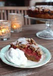 Rhubarb Strawberry Cake with whole wheat flour