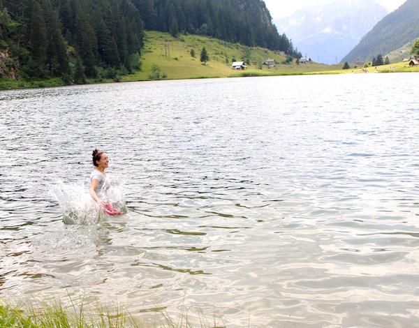 Jumping in the lake!