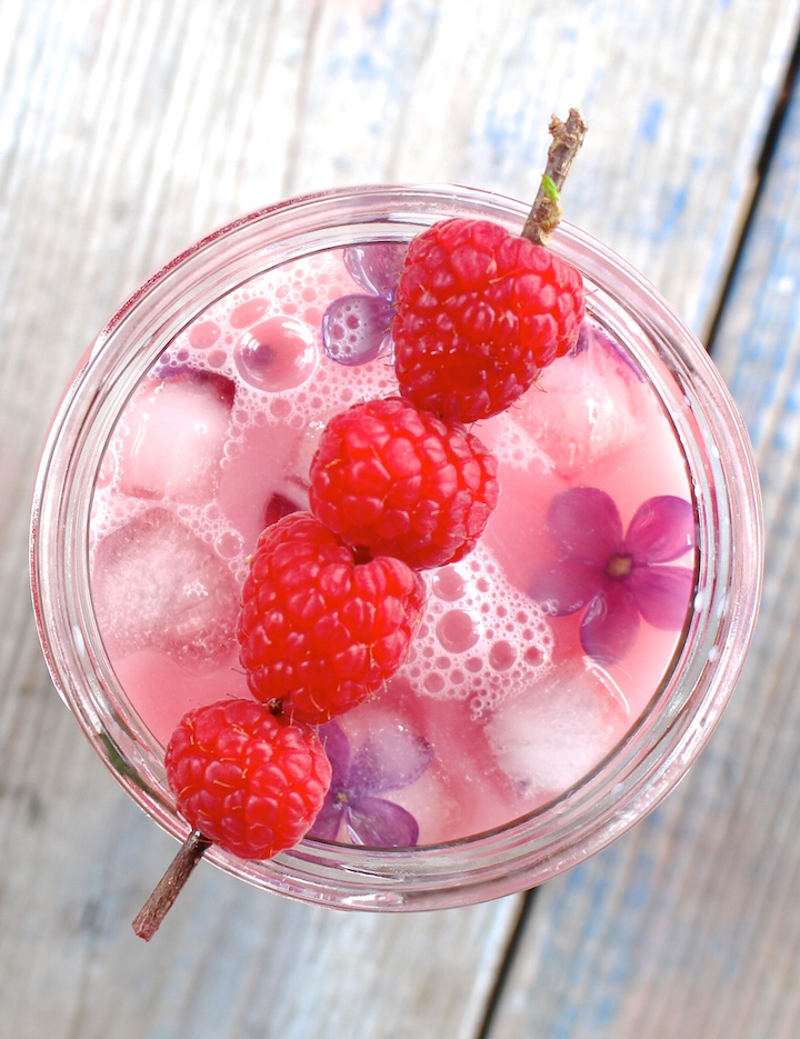 raspberry rose tea latte